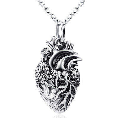 3D New Anatomical Heart Charm Necklace 925 Sterling Silver Love Human Heartbeat