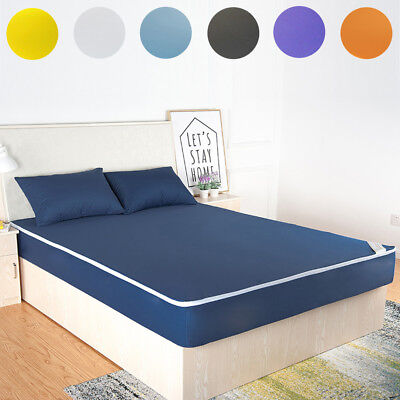 (Waterproof Mattress Pad Protector Bed Fitted Sheet Cover Twin Full Queen King)