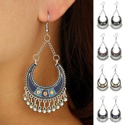 Vintage Bohemian Women Semicircle Bells Tassel Dangle Hook Earrings Jewelry New