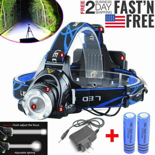 900000LM Rechargeable Head light T6 LED Tactical Headlamp Zoomable+Charger+18650