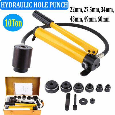 10ton Manual Hydraulic Metalworking Hole Punch Hand Tool With 6 Dies 22mm-60mm
