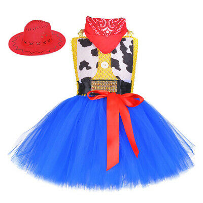 Toy Story 4 Jessie Bubble Dress Halloween Cosplay Costume Kids Little Girls Hat - Girls Jessie Costume