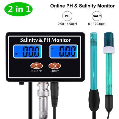 2 in1 Digital Salinity & PH Meter Salinity&PH Monitor for Aquarium Aquaculture