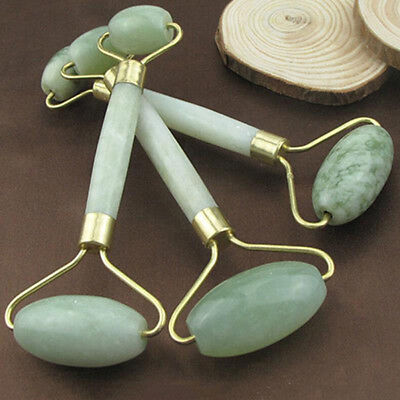 Natural Jade Stone Face Massager Rollers SPA Head Neck Body Facial Beauty Tool
