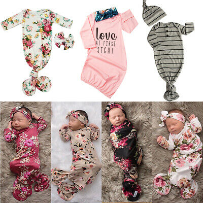 US Baby Sleeping Bags Newborn Infant Blanket Swaddle Wrap Gown 2PCS Outfits - Swaddle Outfit