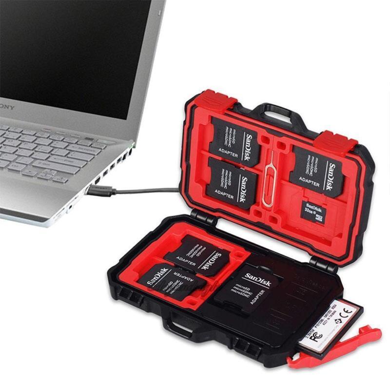 3.0 USB Waterproof Storage Memory Card Reader SD MicroSD CF Sim Storage Case Box