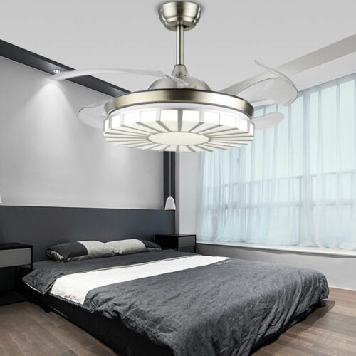 Invisible Crystal Fan Light Lamp Ceiling Light 4 Blades 3 Speed +Remote Control
