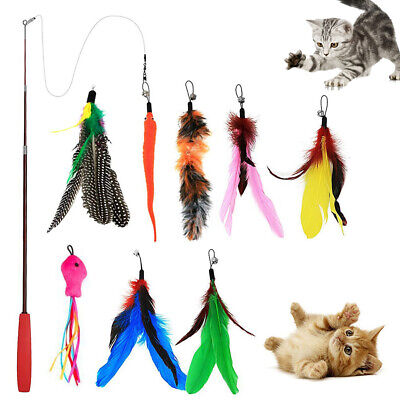 9Pcs Kitten Pet Teaser Bell Feather Interactive Fun Toy Fishing Rod Play Wand Cat Supplies