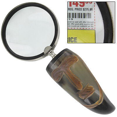 Bovine Cow Horn Executive Magnify Glass Vroulike Tribal Desk Accessory