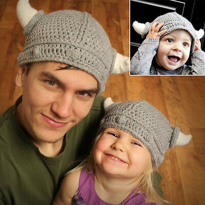 New Cool Gray knit Viking Beanie Hat Cap Adults Kids Great Discount For Buy Both - Viking Hats For Kids