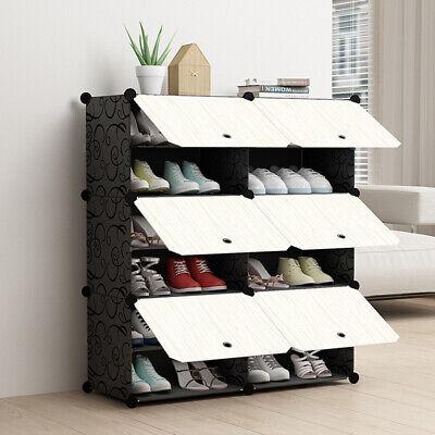 Schuhregal Kleiderschrank DIY Schrank Garderobe 12 Ebenen Regalsystem Schwarz DE