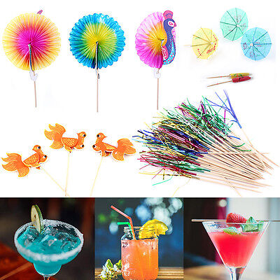 50pcs Cocktail Drink Wine Juice Cake Sticks Picks Party Decor Peacock Umbrella](Cake Decorating Sticks)
