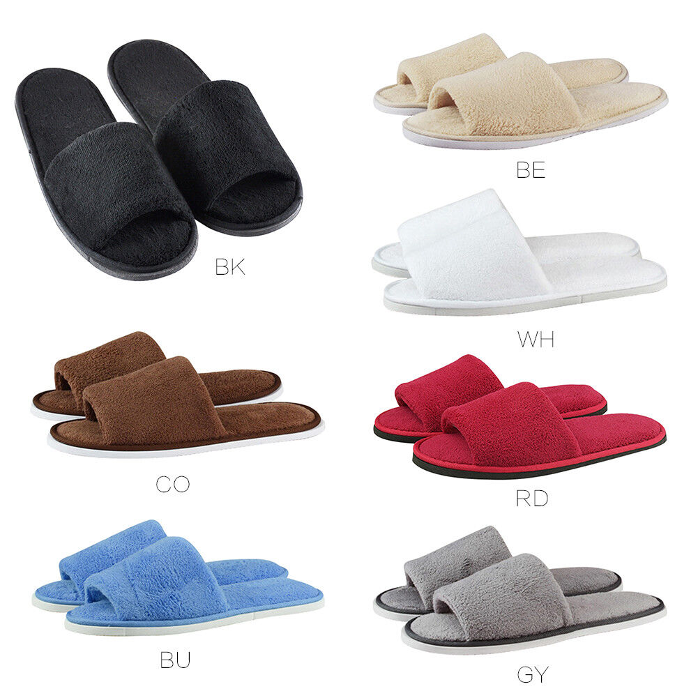 Womens Mens Open Toe Warm Slippers Anti-slip Slippers Fleece House Indoor Shoes 1