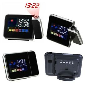 Weather Digital LCD Projector Projection Clock Alarm Calendar W/LED Backlight
