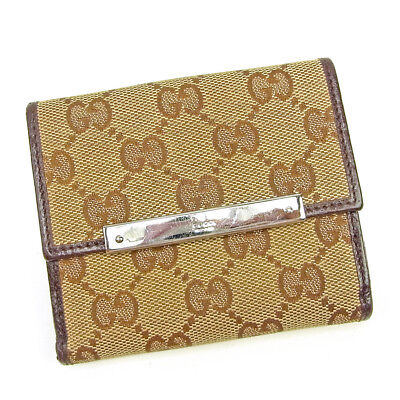 Auth GUCCI Double Sided Wallet GG Canvas Ladies used T3636