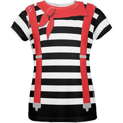 Halloween French Mime Costume All Over Womens T Shirt - Mime Costume Halloween