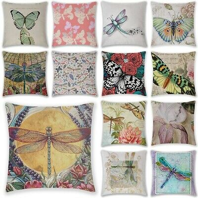 """18"""" Butterfly Dragonfly Home  Linen Bed Decor Pillow Case Waist Cushion Cover"""