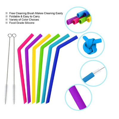 8 Reusable Drinking Straw Silicone Straws For Home Party Barware Accessories DIY](Diy Halloween Drinks)