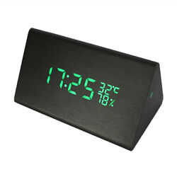 LED Wooden Alarm Clock Time Temperature Week Calendar for Home Office