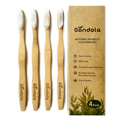 (Natural Bamboo Toothbrush Pack Of 4 Adult Size Eco Friendly BPA FREE by Gondola)
