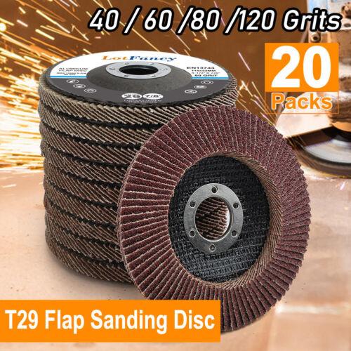 20Pcs 40 60 80 120 Grit Assorted Sanding Grinding Wheels 4.5 Inch Flap Discs T29