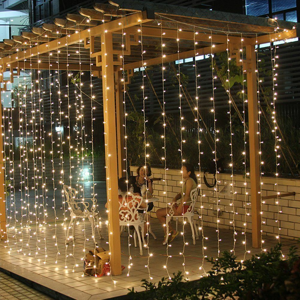 300 LED 3*3M Fairy Curtain String Lights Icicle Wedding Party Room Decor 10-60ft Home & Garden