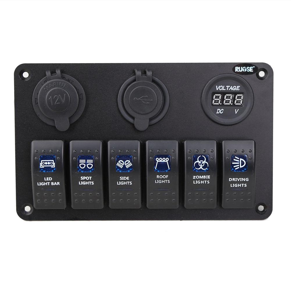 6 Gang Auto Marine Boot Schaltung Blau LED Rocker Schalter Panel ...