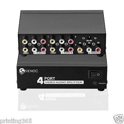 4 Port Video Audio AV 3RCA Splitter für TV Box HDTV DVD PS3 1 in 4 Ausgang - Video Splitter Box