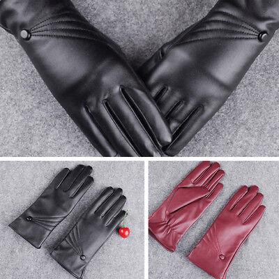 Damen Handschuh Finger PU Leder Simili Handschuhe Ski Winter warme Touchscreen (Damen Leder Handschuh Touchscreen)
