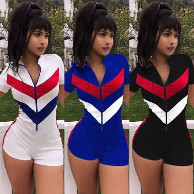 Women Zipper Jumpsuit Bodycon Bodysuit Top Romper Blouse Short Sleeve Shirt U4V9 (Body Suit Shirt)