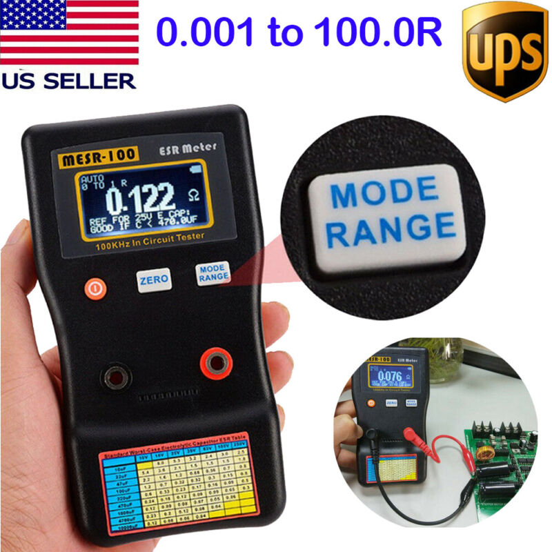 MESR-100 V2 Auto Ranging In Circuit ESR Capacitor Tester Meter 0.001 to 100R US