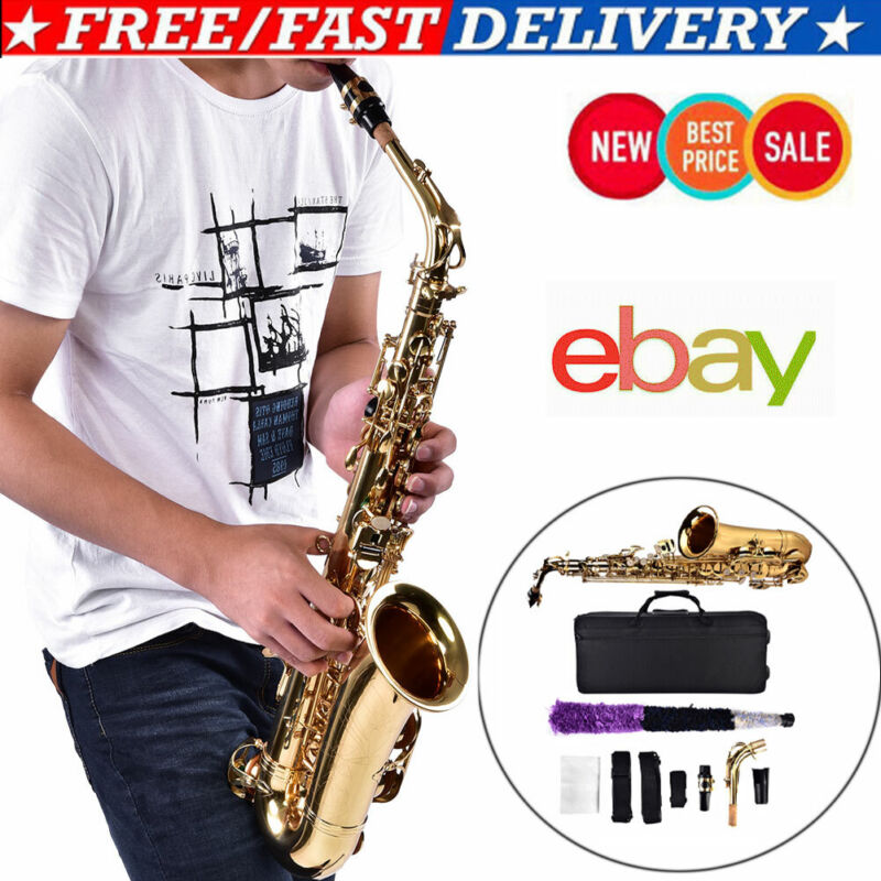 Eb E-flat Alto Saxophone Set w/High F# tone +Box & Accessories Brass Best Gift