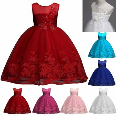 Flower Girl Bridesmaid Princess Lace Wedding Dress Gown Tulle Tutu for Baby Kids](Tutu Dress For Girls)