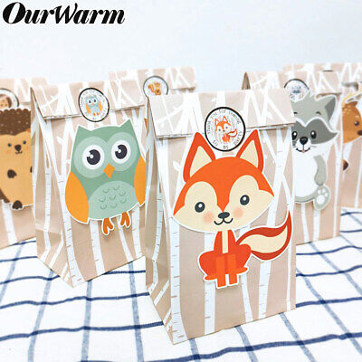 24× Animals Candy Bags Woodland Birthday Party Baby Shower Sweet Packaging Bag - Baby Shower Bags