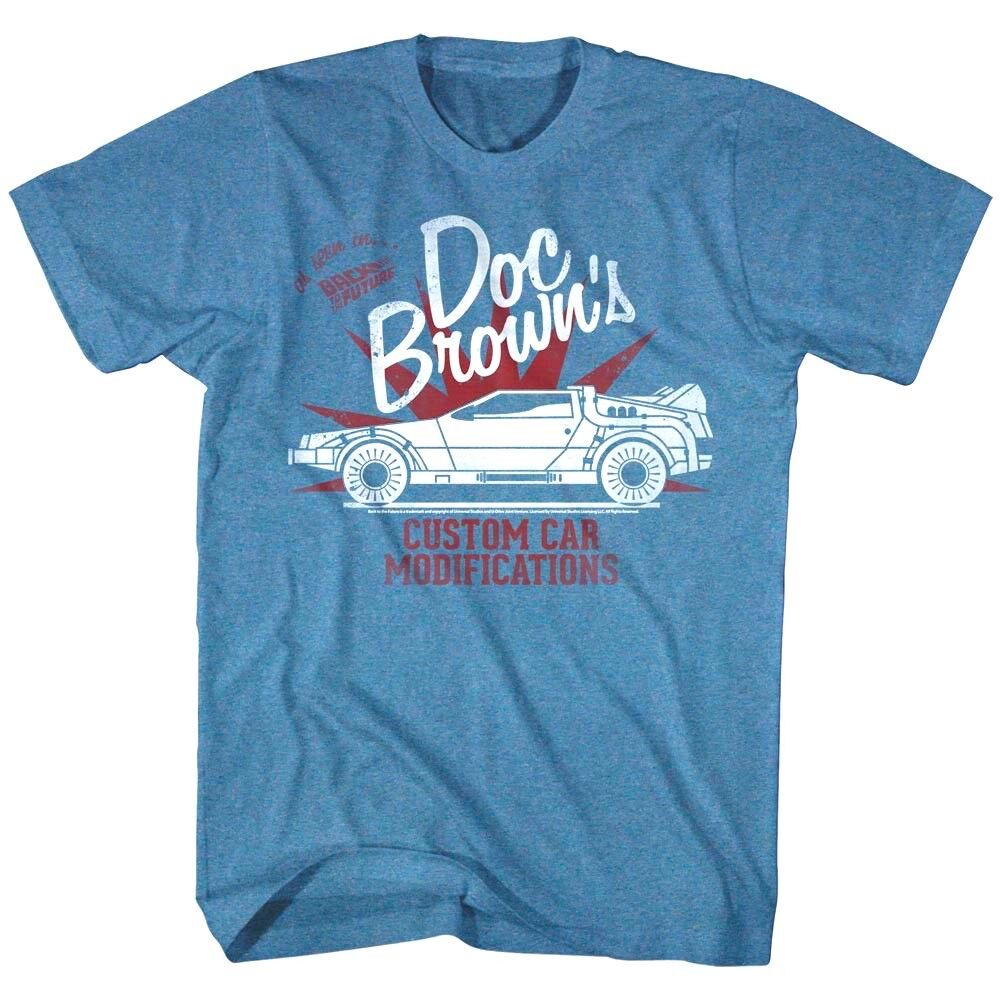 OFFICIAL Back To The Future Men s T-shirt Doc Browns Custom Car Modifications  - $19.99