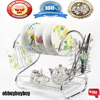 Kitchen organization holder 2 Tier Stainless Steel Dish Drainer Drying Rack WP
