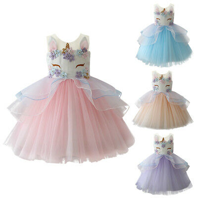Flower Girls Princess Unicorn Tutu Dress Baby Kid Wedding Party Birthday Dresses
