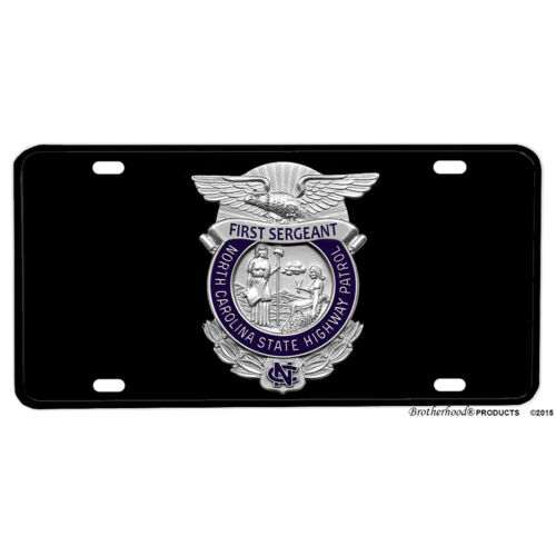 North Carolina State Highway Patrol First Sergeant Rank Aluminum License Plate