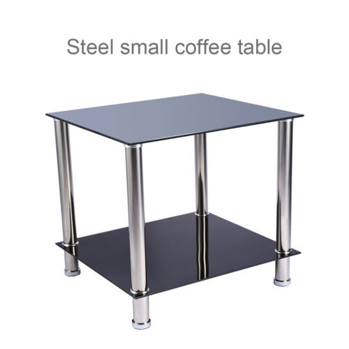 2 Layer Glass Stainless Steel Small Square Display Stand