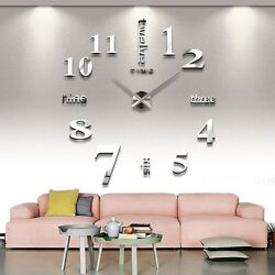 Oversized Wall Clocks Silver Sturdy Modern Large Contemporary