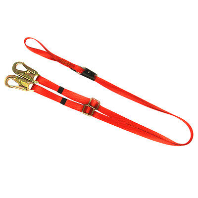 Fusion Climb 6ft Y Legged Lanyard With Double Locking Snap Hook Adjustable Red