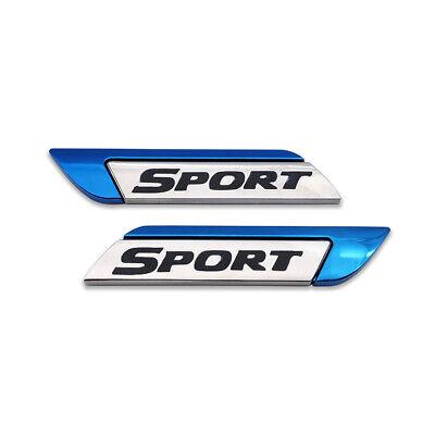 Pair Blue Metal SPORT Logo Emblem Side Fender Badge Racing Sticker Turbo Decal