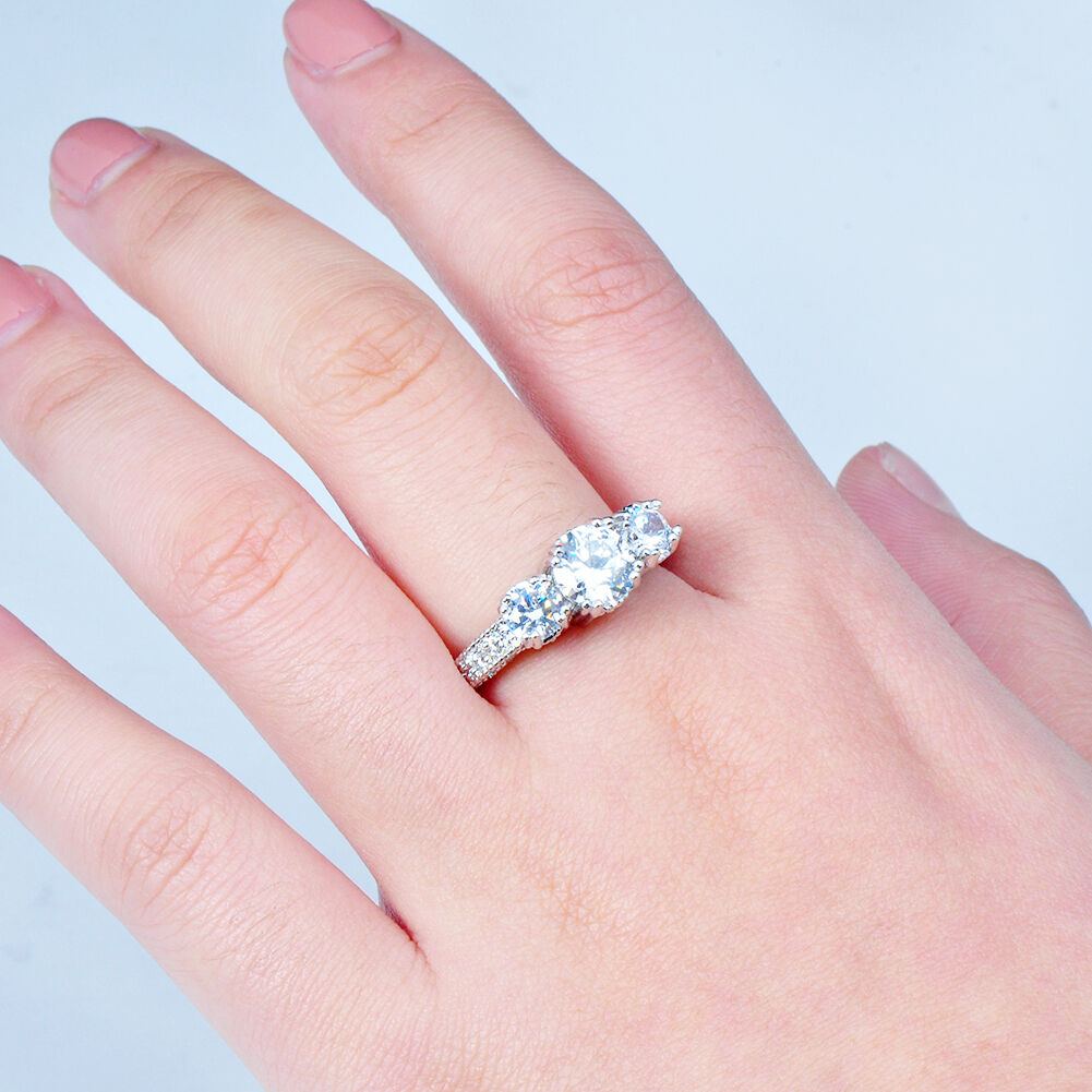 Size 4-12 White Sapphire Silver Wedding Band Ring 10KT White Gold ...