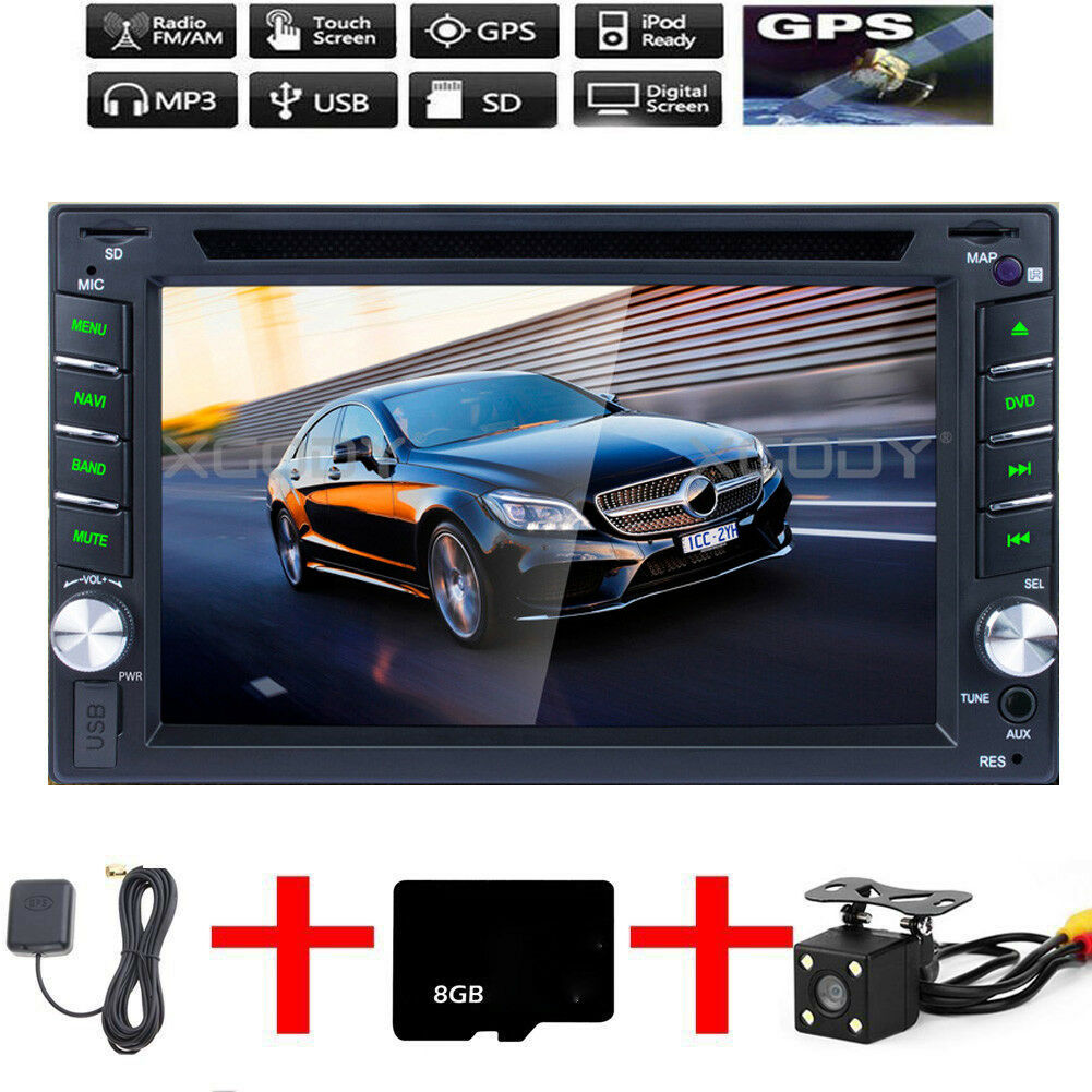 Autoradio Navigation MIT Doppel 2DIN GPS Navi Bluetooth USB MP3 DVD CD TF 6.2''