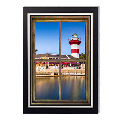 Harbour Town Lighthouse Hilton Head Window Framed Glossy Poster 24 x 36in