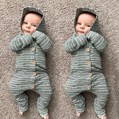 Newborn Infant Baby Boy Girl Romper Bodysuit Jumpsuit Clothes Outfits US Stock