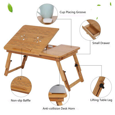 Adjustable Folding Bamboo Notebook Laptop Lap Bed Stand Table Desk Tray W.Drawer - Notebook Lap Tray