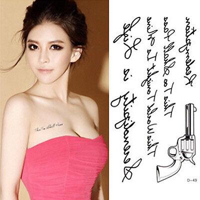 RQQ Supermodel Stencil Design Sexy Body Art Gun Letters Temporary Tattoo Sticker on Rummage