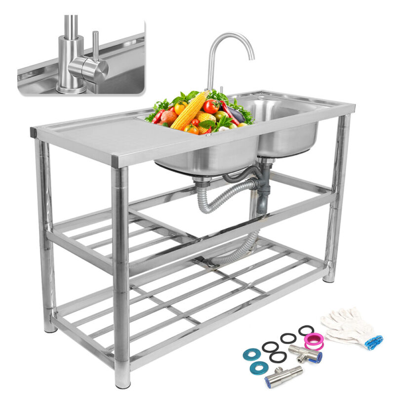 Stainless Steel 2 Compartment Handmade Wash Table Commercial Kitchen Restaurant