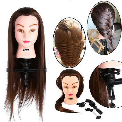 """26"""" Salon Hairdressing Long Human Hair Mannequin Doll Training Head with Clamp"""